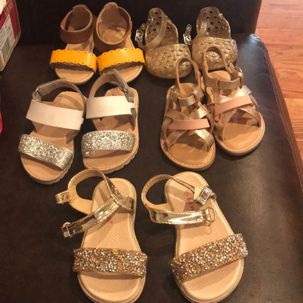Old Navy Shoes 5 Pairs Of Baby Sandals 3 Never Worn Color Gold Silver Size 5bb Baby Sandals Navy Shoes Sandals