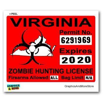 virginia va zombie hunting license permit red #biohazard response
