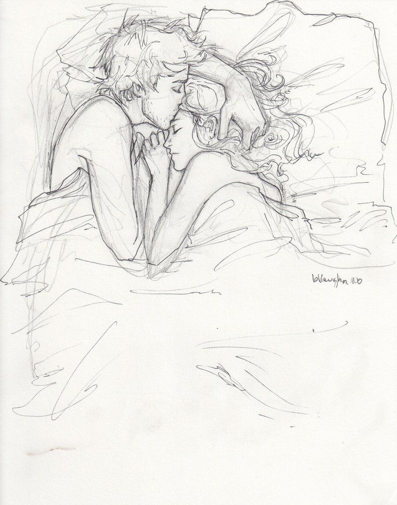 Drawing love couple bed black and white kiss