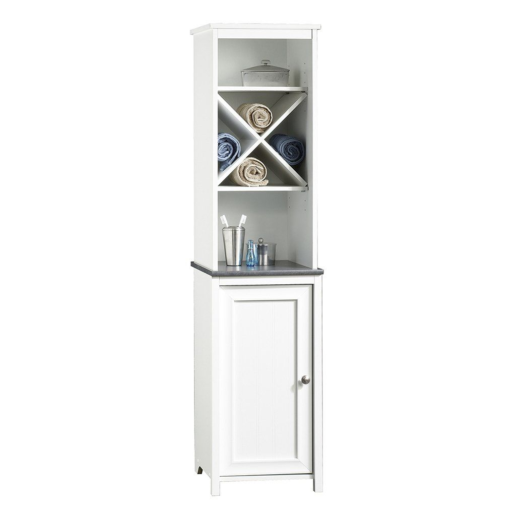 Sauder Linen Tower Bath Cabinet Soft White Finish Check This Awesome Product By Going To The Link Stylish Bathroom Bathroom Shelf Cabinet Bathroom Storage