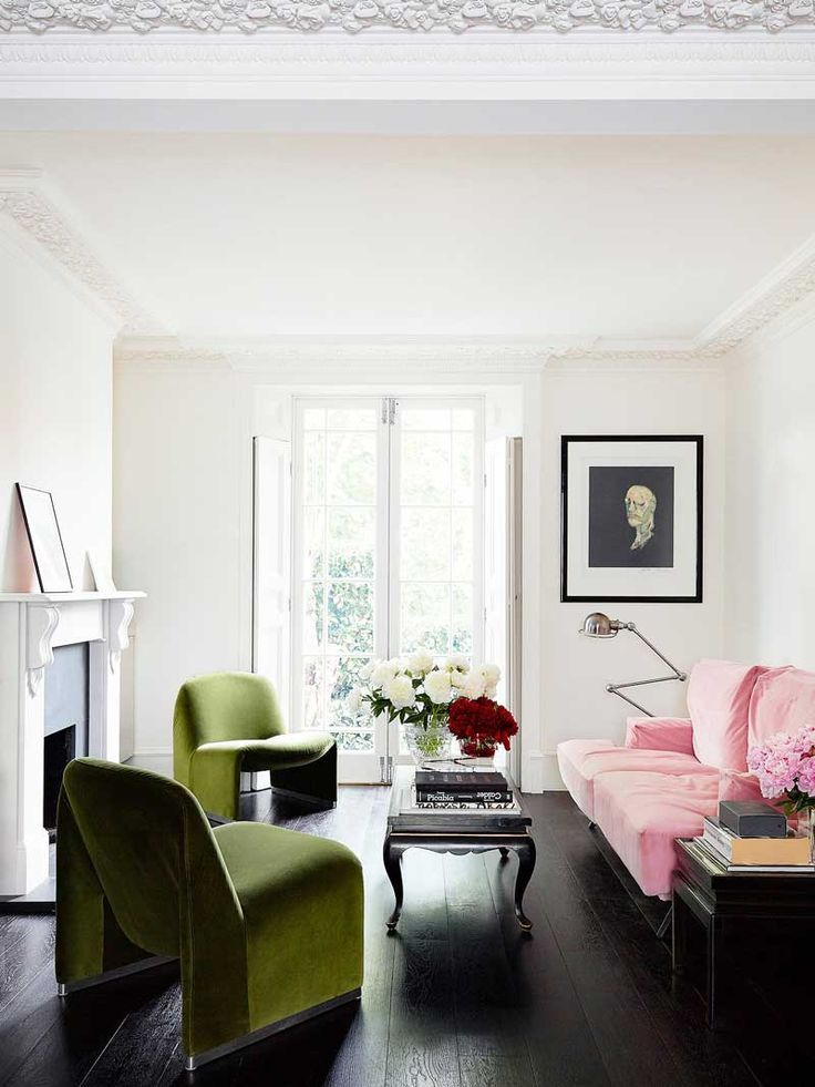 Modern living room in London with green velvet chairs via @Kevin O