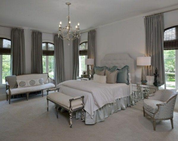 sehr helles grau bett kopfteil schlafzimmer einrichtung #Design - wohnzimmer dekoration grau