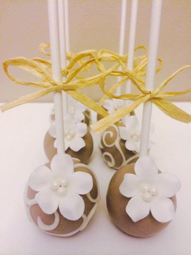 Bridal Shower Cake Pops | Simple White Flower & Light Brown Cake ...