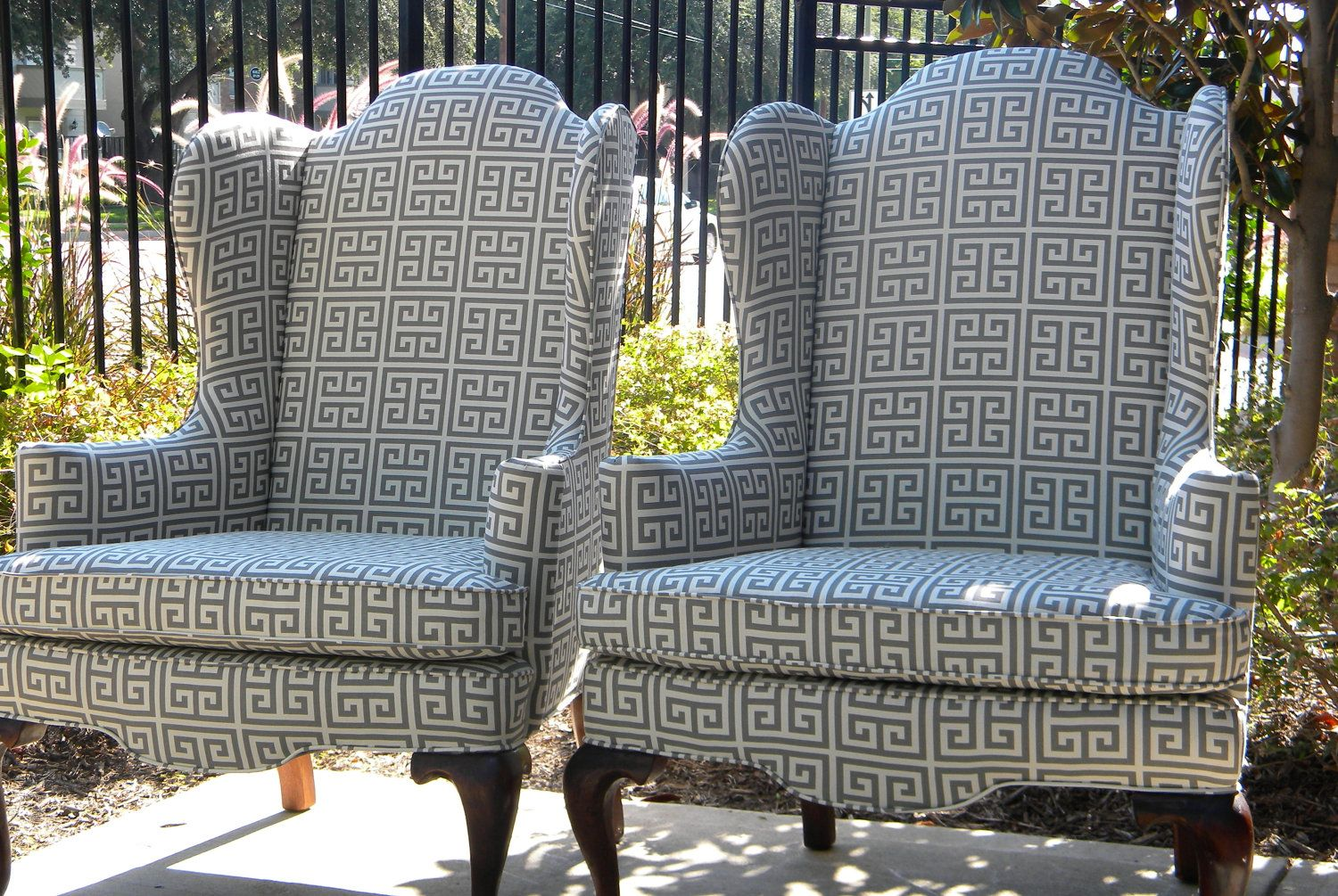 Exceptional Refurbished Wingback Chairs With A Modern, Geometric Fabric   Stunning.  $1,600.00,