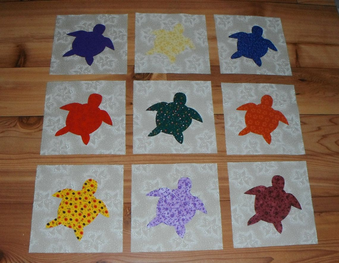Set of colorful nautical baby sea turtle applique quilt blocks