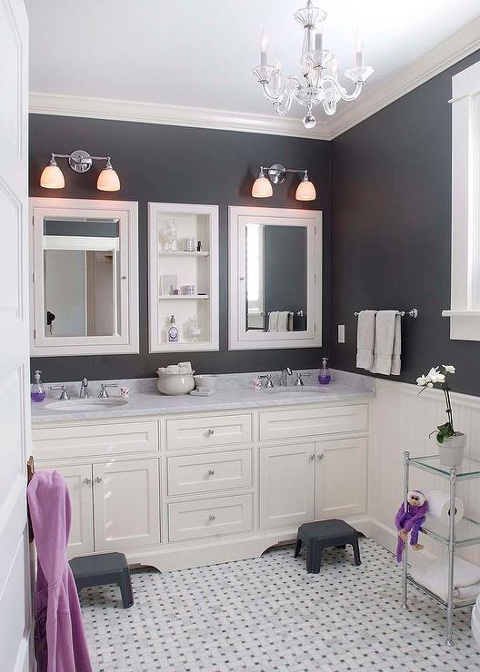 Purple And Grey Powder Room