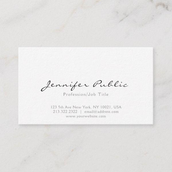 Professional Modern Elegant White Simple Plain Business Card Zazzle Com Printing Business Cards Cute Business Cards Minimalist Business Cards