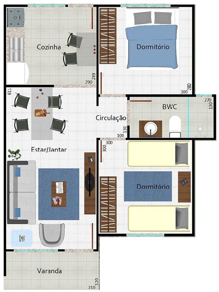 Plantas de Casas com 2 Quartos com Cozinha Americana planos de - plan maison plain pied 80m2