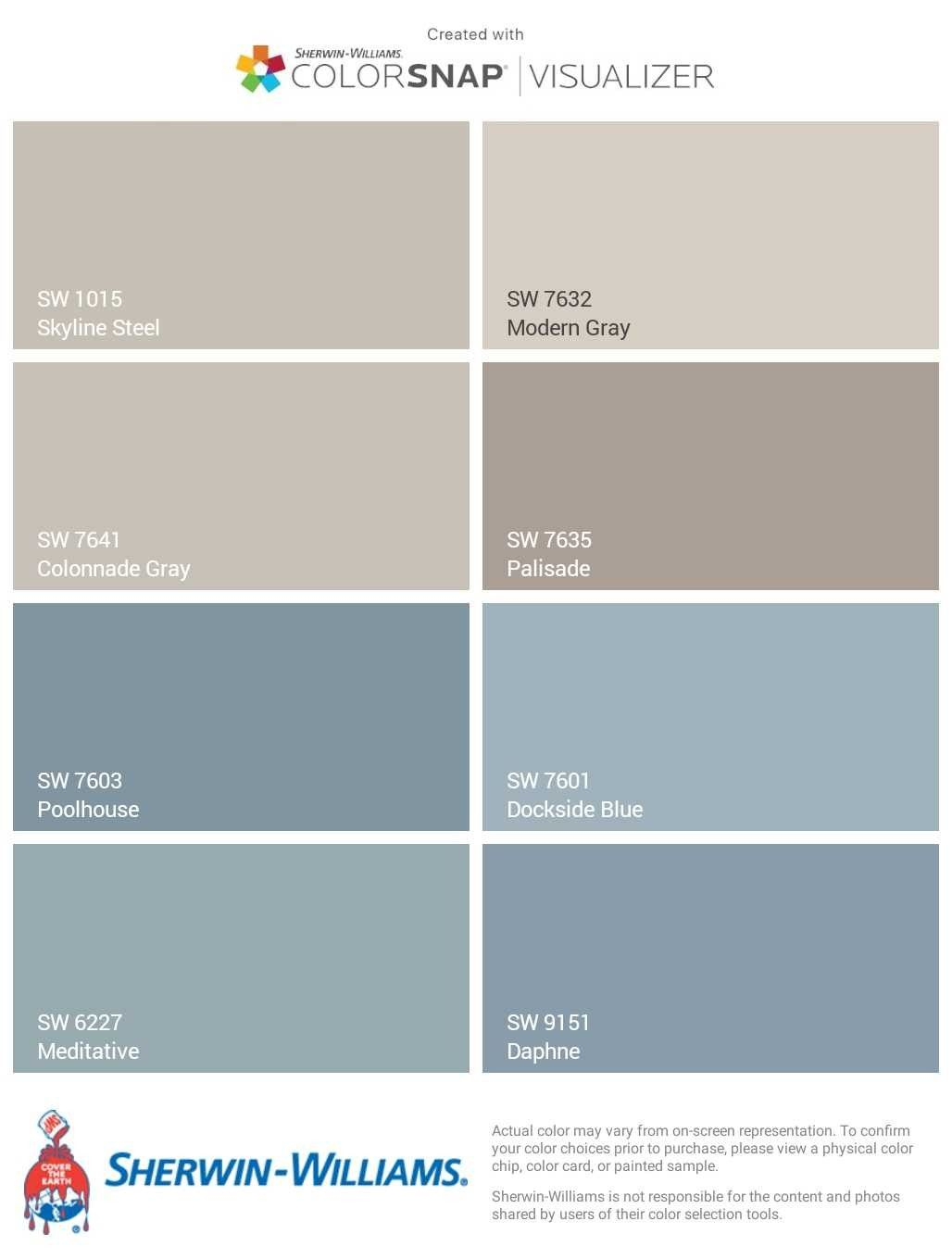 Sherwin Williams Skyline Steel Exterior Paint Color Pallette
