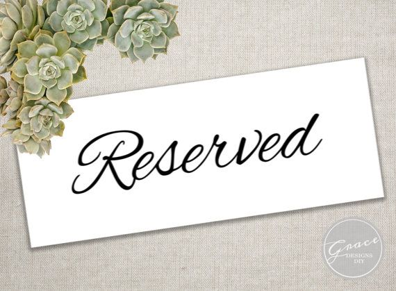 printable reserved sign classic simple script instant download