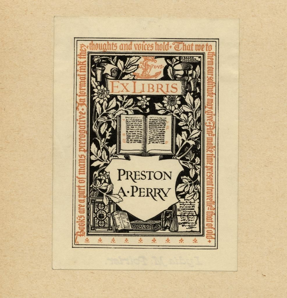 Bookplate by Ralph Fletcher Seymour for Preston A Perry