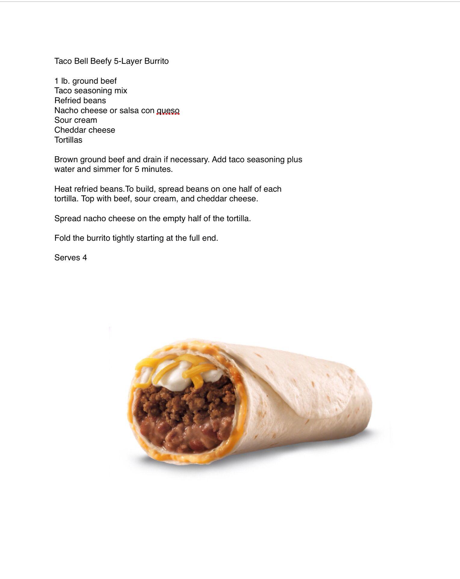 Taco Bell Beefy 5-Layer Burrito   Copycat Fast Food / Restaurant ...