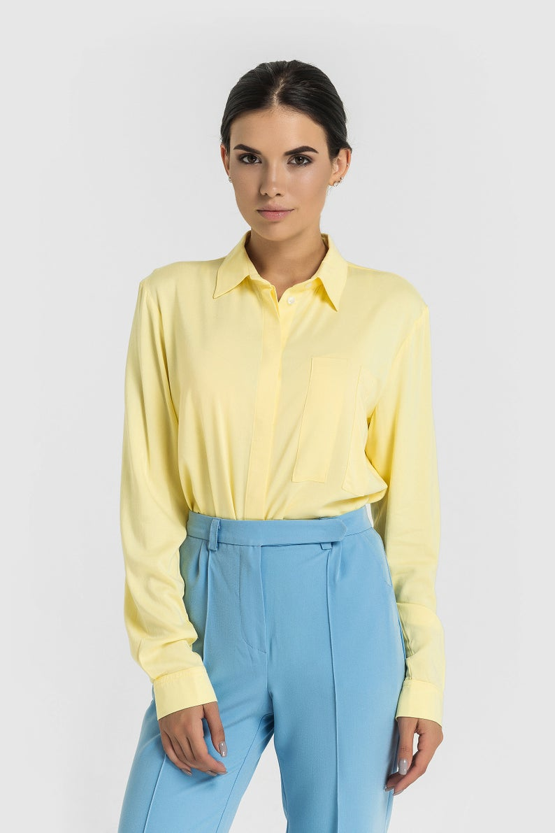 Button Down Shirt Women Oversized Long Sleeve Shirts For Women Yellow Summer Casual Collared Shir Oversized Long Sleeve Shirt Womens Shirts Plus Size Blouses [ 1191 x 794 Pixel ]