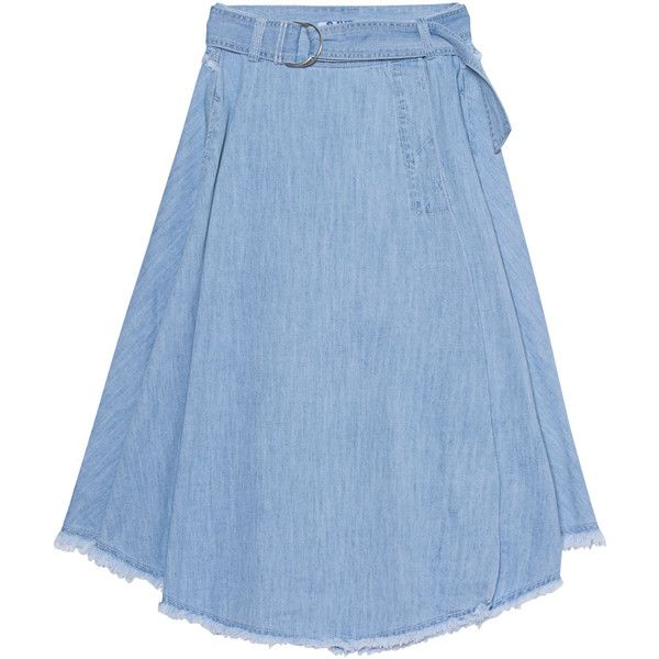 SJYP Denim Long Light Blue // Flared denim skirt ($420) ❤ liked on Polyvore featuring skirts, long flared skirt, midi skirt, denim skirt, long summer skirts and long flare skirt
