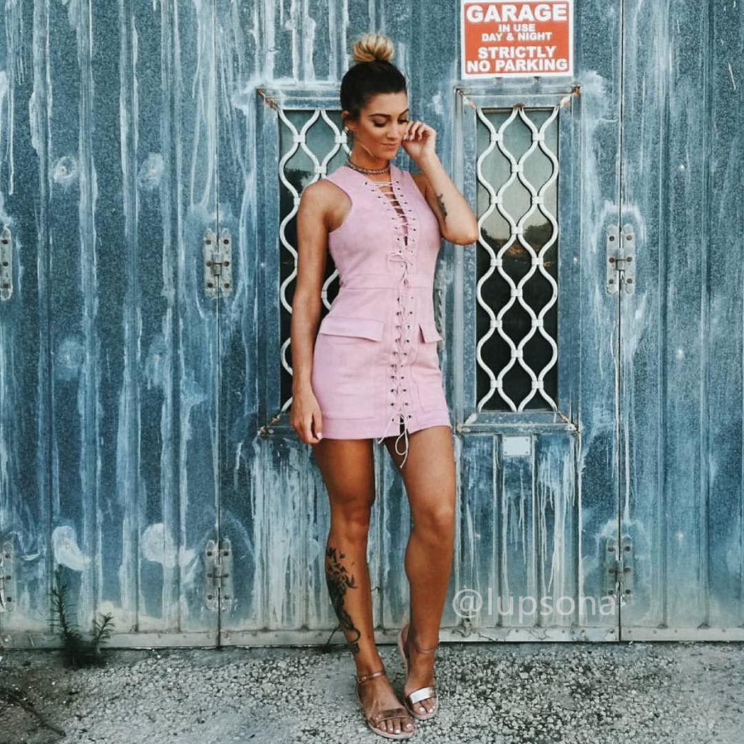 Instagram – Lupsona Slinky Bandage Suede Sleeveless Bodycon Dress ...