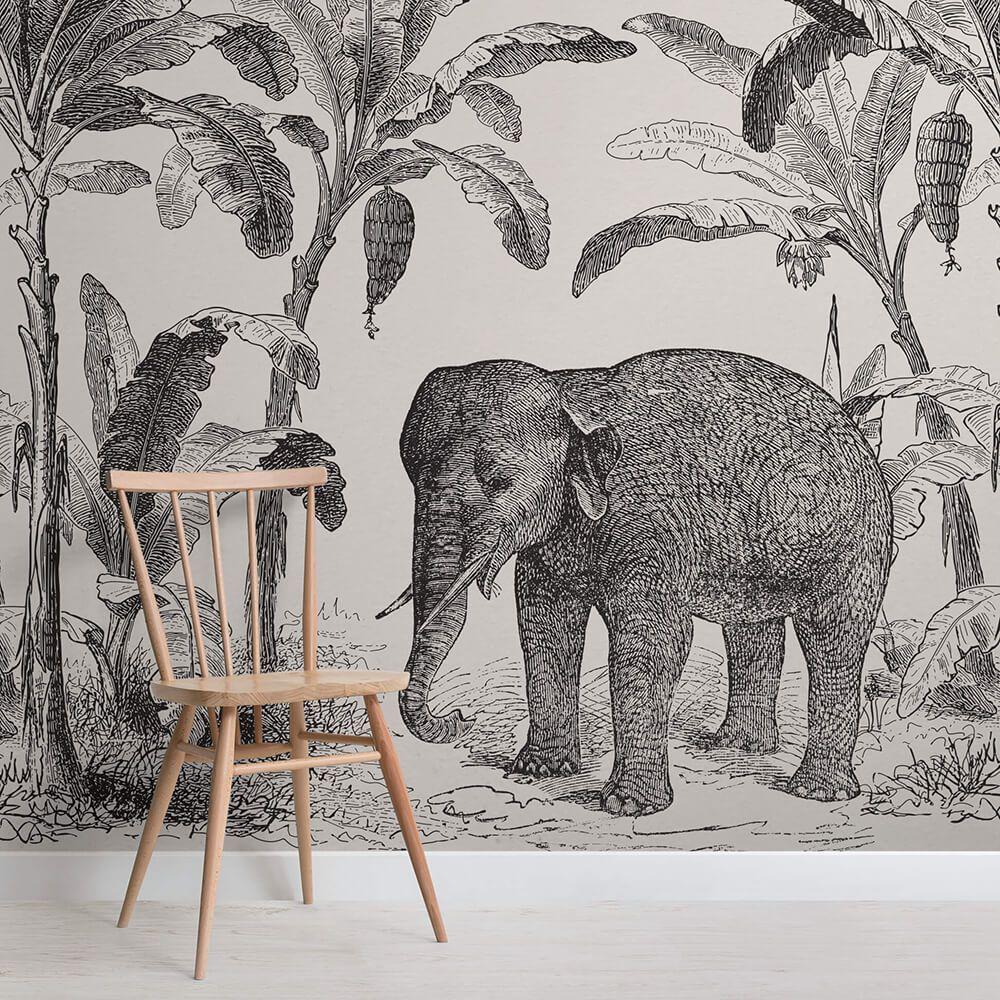Loxodonta Vintage Explorer Mural Elephant Wallpaper Wall Murals