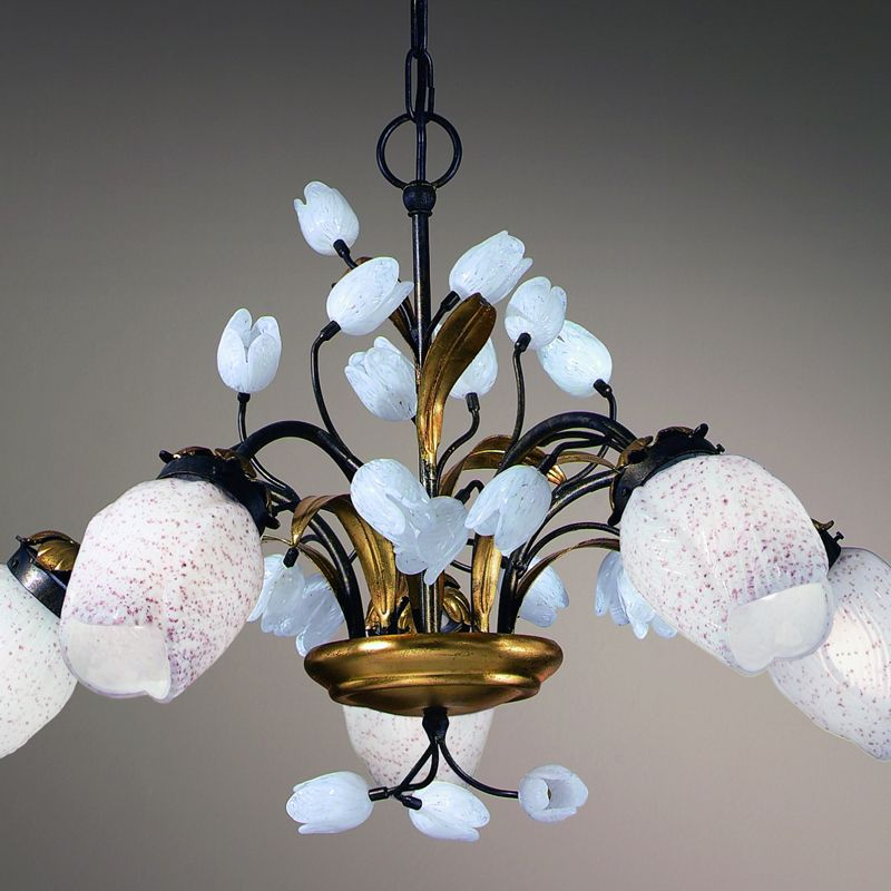 White tulip 5 light chandelier just 97933 to find out more a pretty white italian glass tulip chandelier on a brass frame aloadofball Image collections