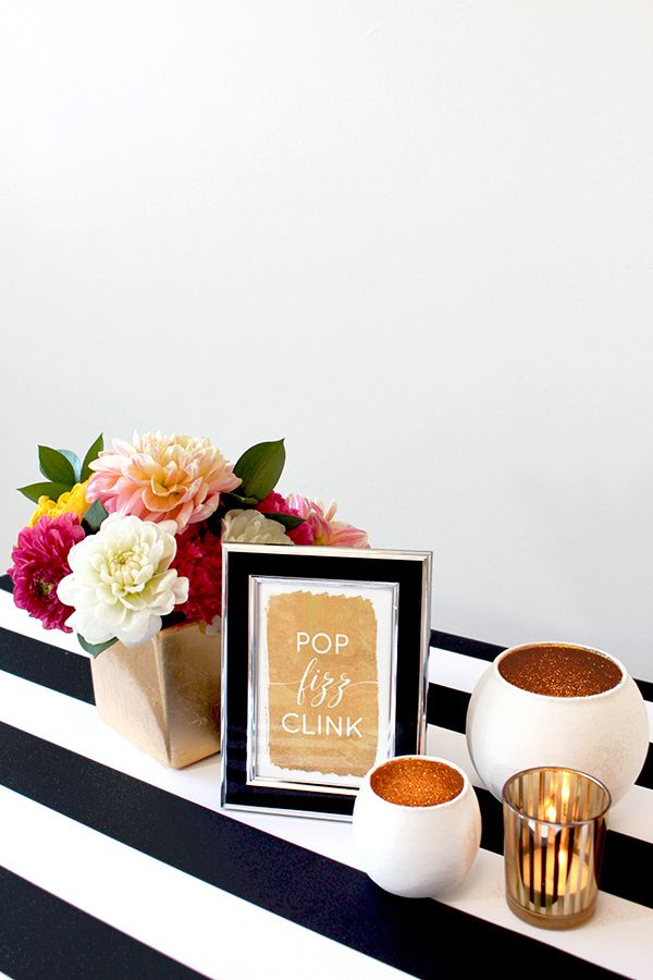 Pop Fizz Clink Gold Foil Sign | Hey Design Lady |Sparkles and Stripes - Kate Spade Wedding Inspiration!