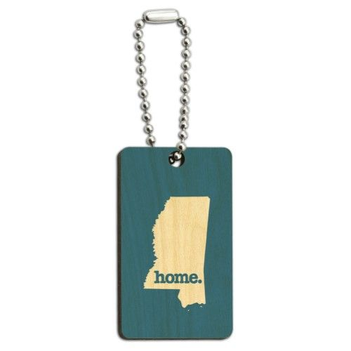 Mississippi MS Home State Wood Wooden Rectangle Key Chain - Solid Denim Blue, Men's