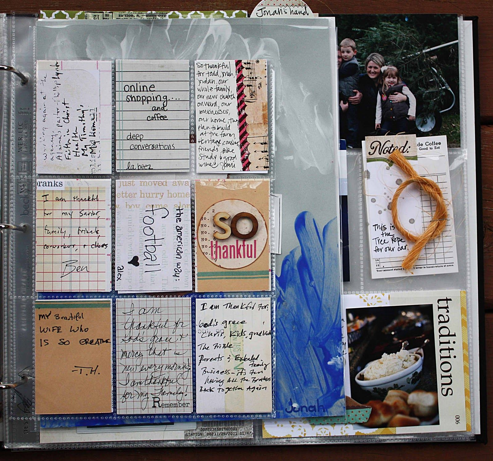At Thanksgiving time, give family members a journal card to record their blessings in their own handwriting.  Include as a special (baseball card sleeve) insert page.