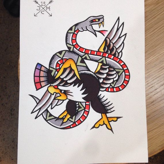 Eagle Vs Snake Flash Sheet Hand Painted Tattoo Flash By Jcmflash