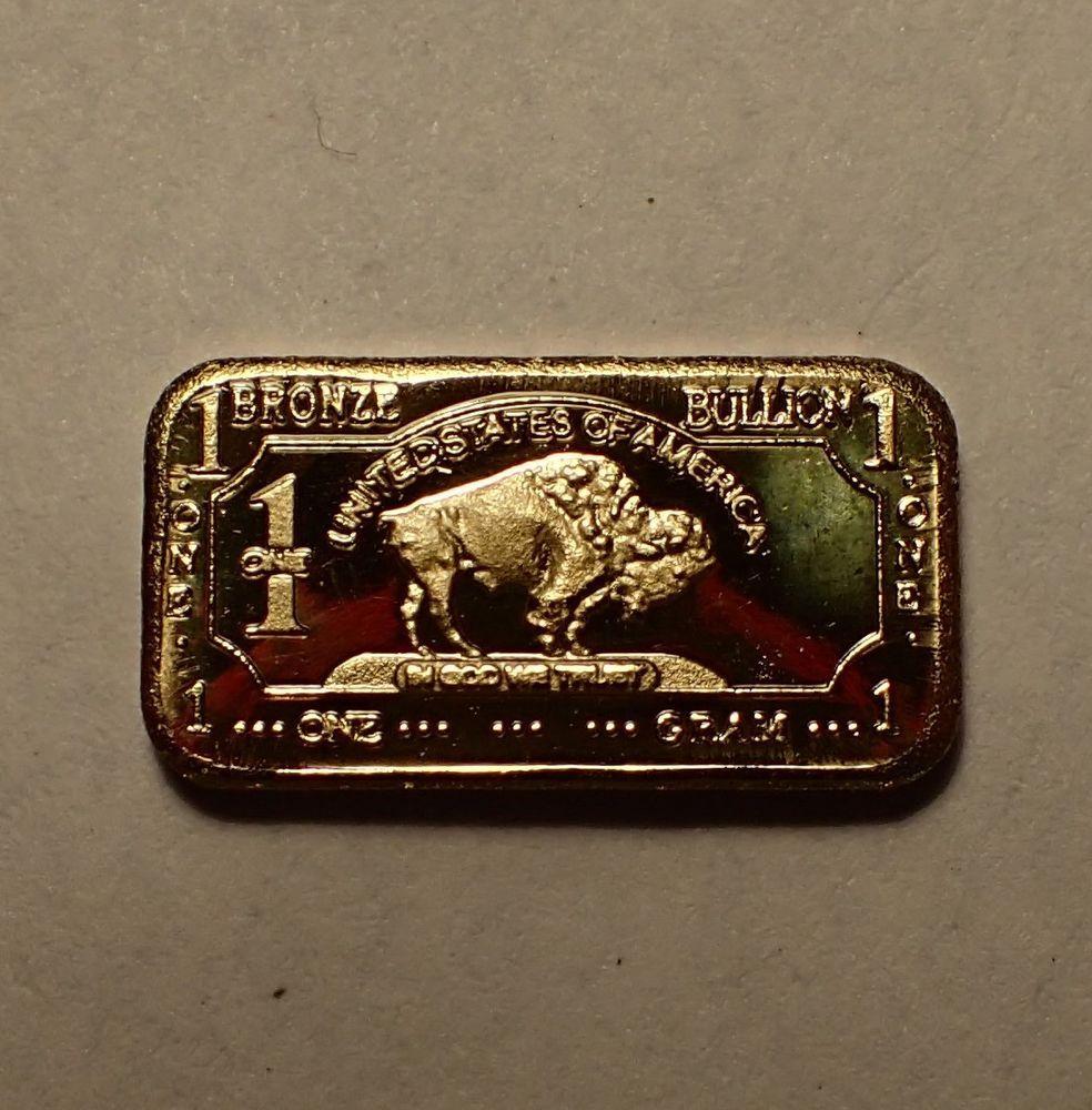 1 Gram Bronze Buffalo Bullion Bar