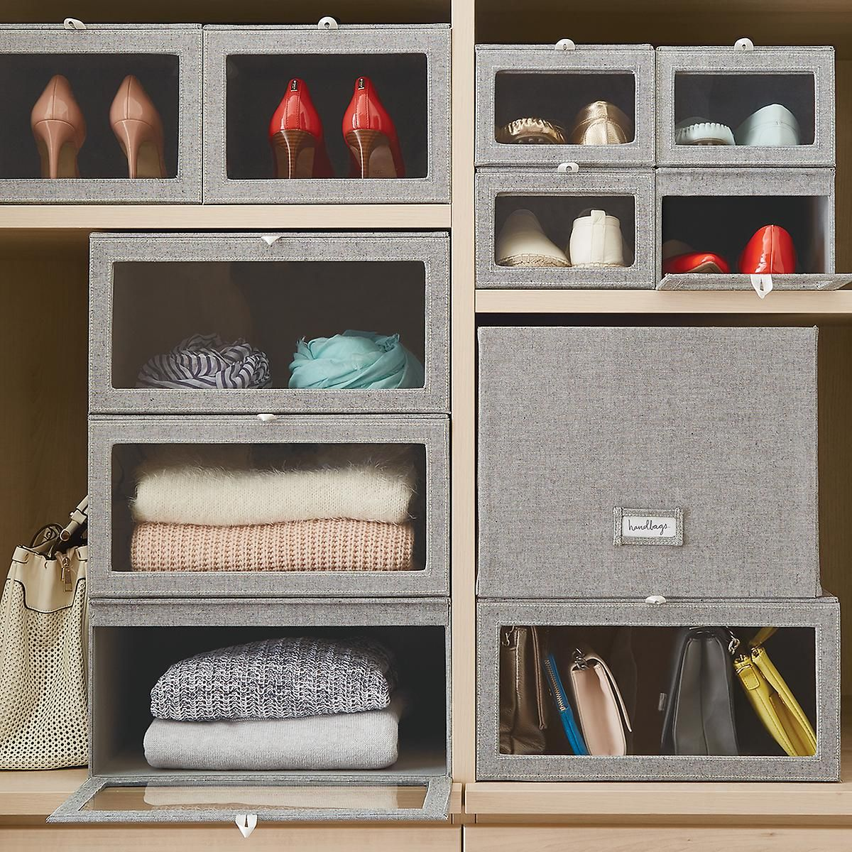 Grey Cambridge Drop Front Shoe Box Container Store Storage And Organization Drop Front Shoe Box