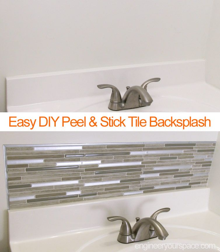 Diy Small Bathroom Remodel With A Smart Tiles Peel And Stick Backsplash This Small Project Only Too Bathroom Remodel Small Diy Small Bathroom Diy Smart Tiles