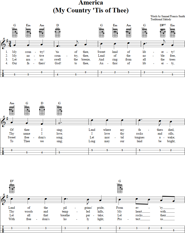 Lyric my country tis of thee lyrics : My Country 'Tis of Thee Mandolin Tab. View the full song at http ...