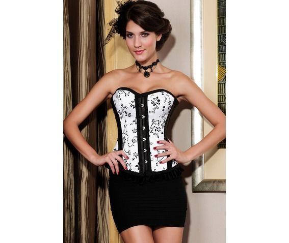 White Black Red Floral Overbust Gothic Burlesque Corset Plus Sizes