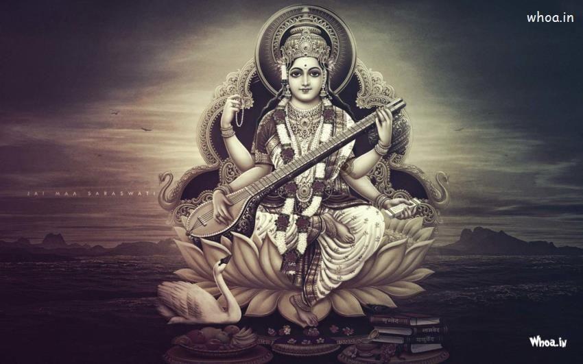 Maa Saraswati Black And White Hd Wallpaper Saraswati Goddess Hindu Gods Goddess