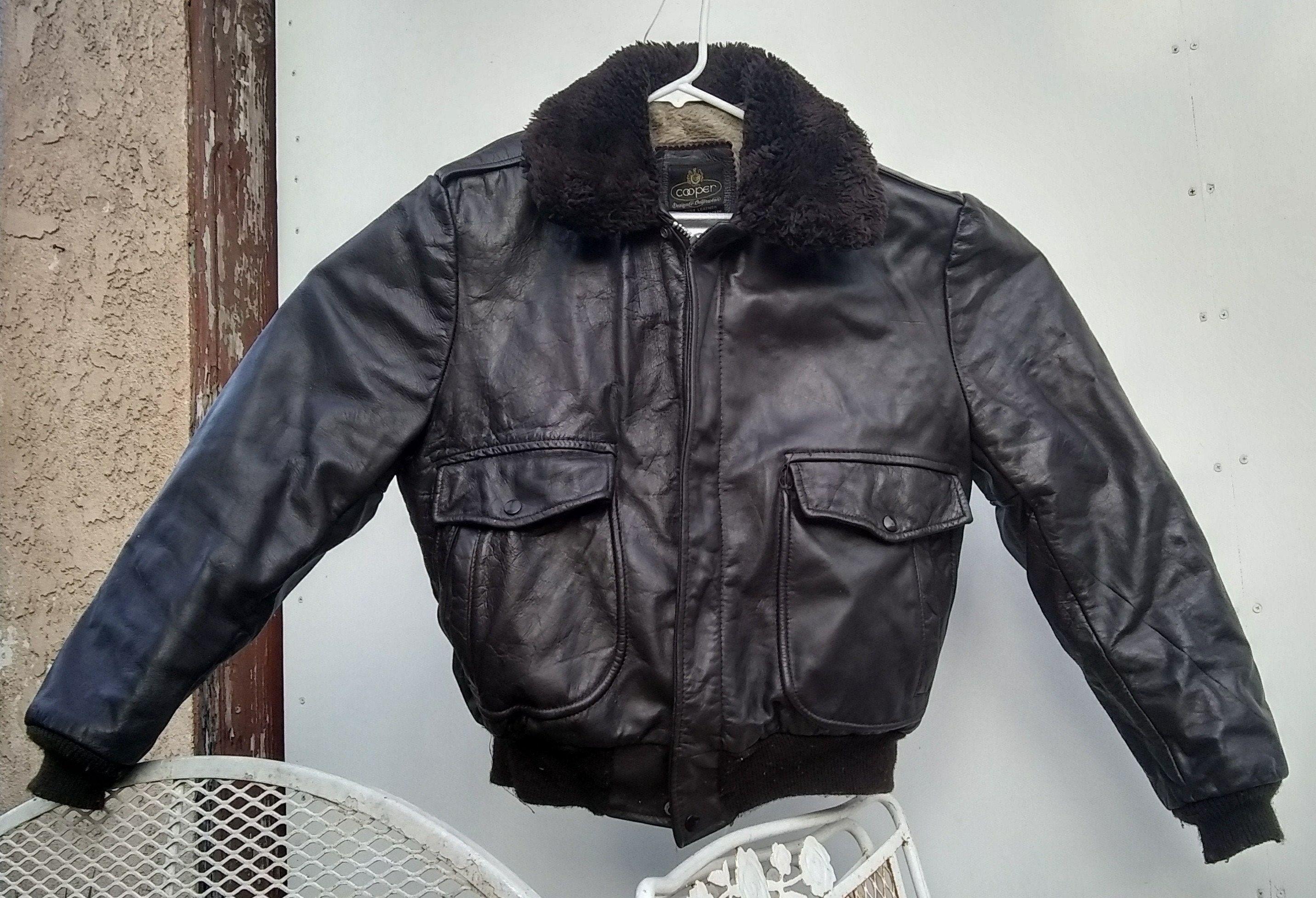 Flight Bomber Leather Jacket Cooper Size 42 Dark Brown Vintage Etsy Leather Bomber Jacket Leather Jacket Jackets [ 1953 x 2863 Pixel ]