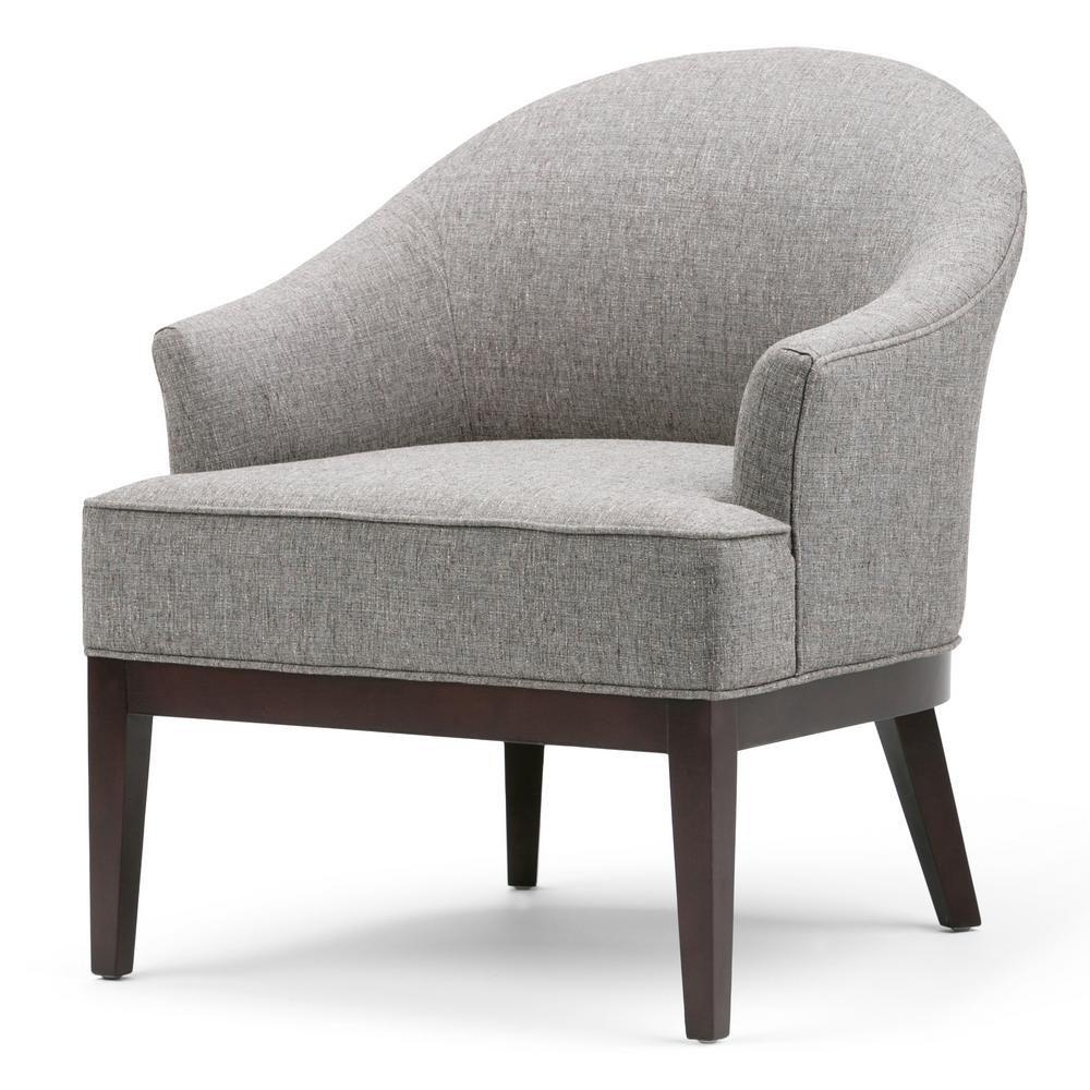 Simpli Home Louise Warm Slate Grey Fabric Arm Chair Linen Look