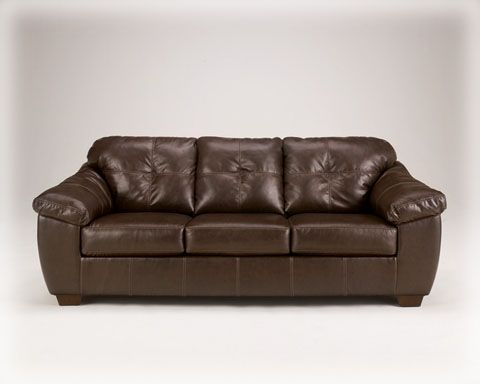 San Lucas Contemporary Harness Faux Leather Fabric Sofa Signature