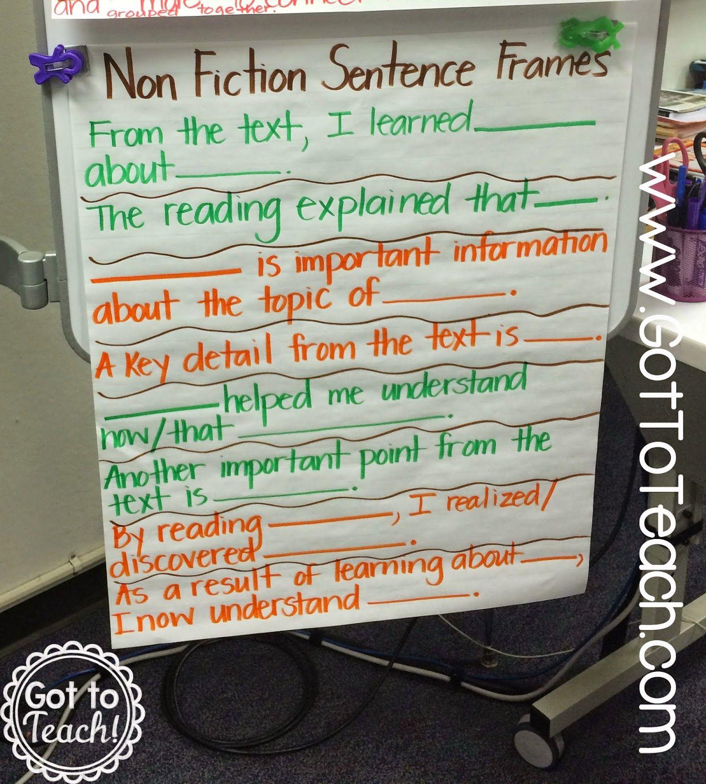 Nonfiction Summary Sentence Frames