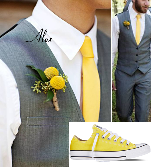 ALEX - Grey vest and trousers, white shirt, yellow tie, yellow converse. This style will be mirroring the groomsmen, but in the bridesmaid colors.