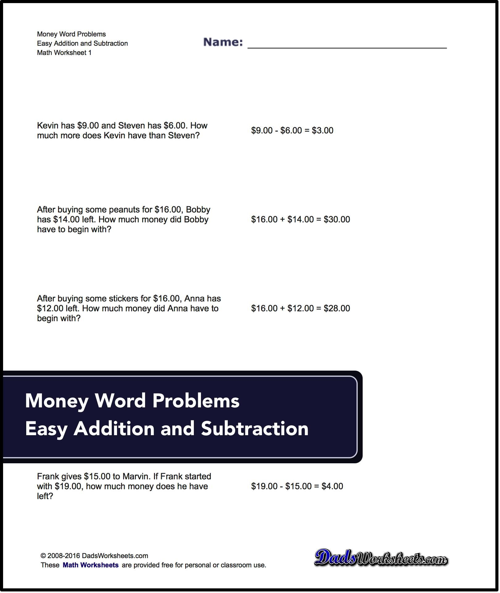 Addition And Subtraction Word Problems For Money