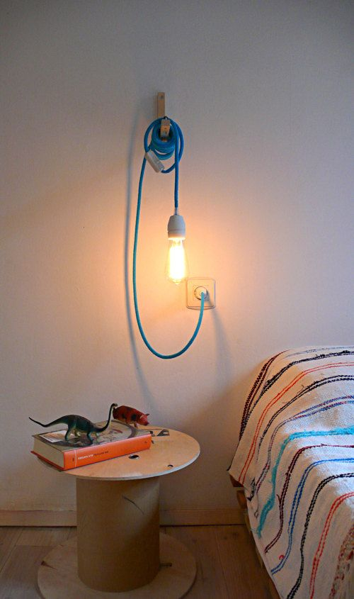 Textile Cable Lamp With Switch And Plug   Blue