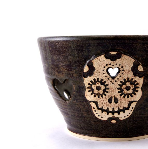 Sugar Love- A Day of the Dead Sugar Skull Yarn Bowl for Chicks with Sticks