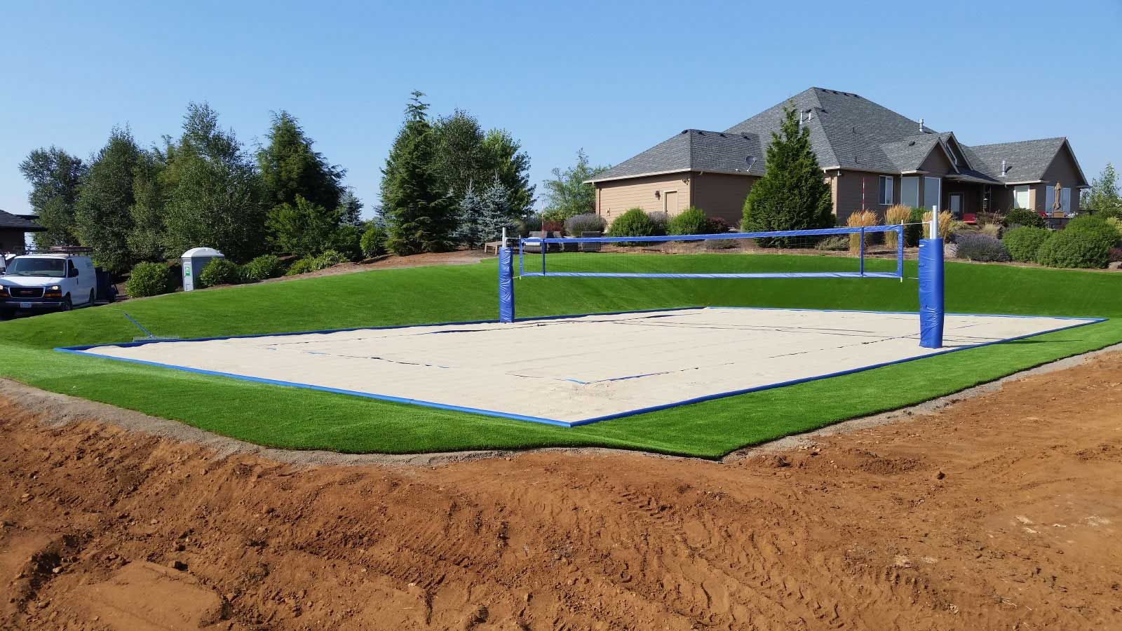 Backyard Sand Volleyball Court In 2020 Sand Volleyball Court Basketball Court Backyard Beach Volleyball Court