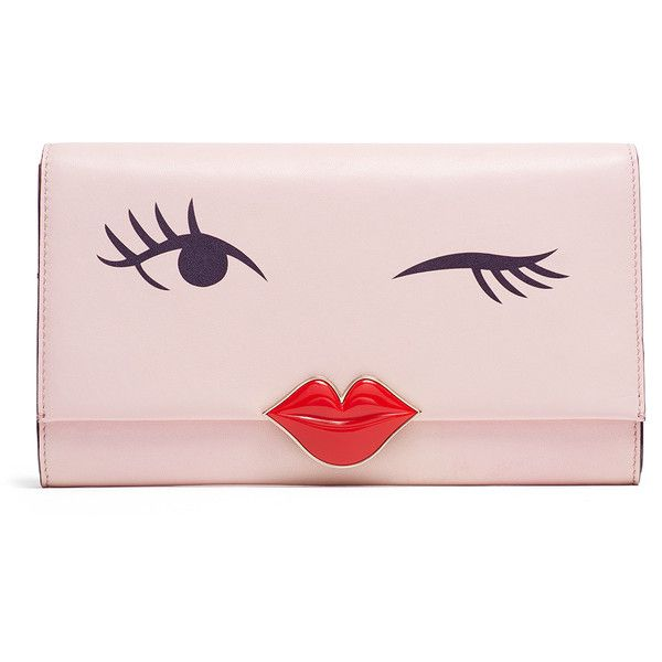 Rental kate spade new york accessories Love Birds Wink Clutch (£36) ❤ liked on Polyvore featuring bags, handbags, clutches, pink, pink handbags, pink clutches and pink purse