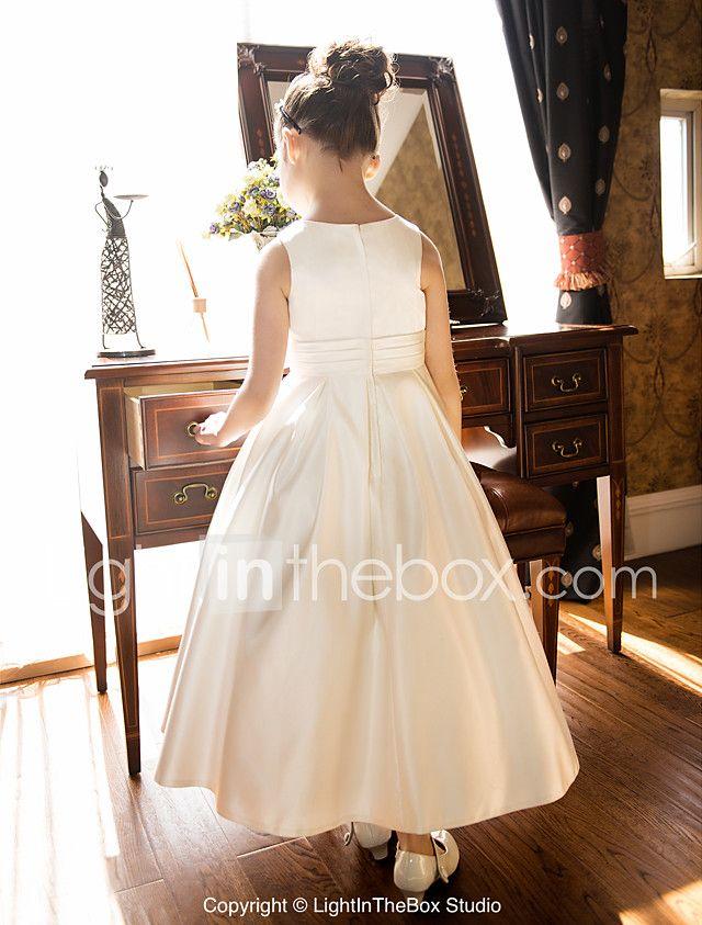 Una línea de longitud de té vestido de niña de flores - cuello joya ...