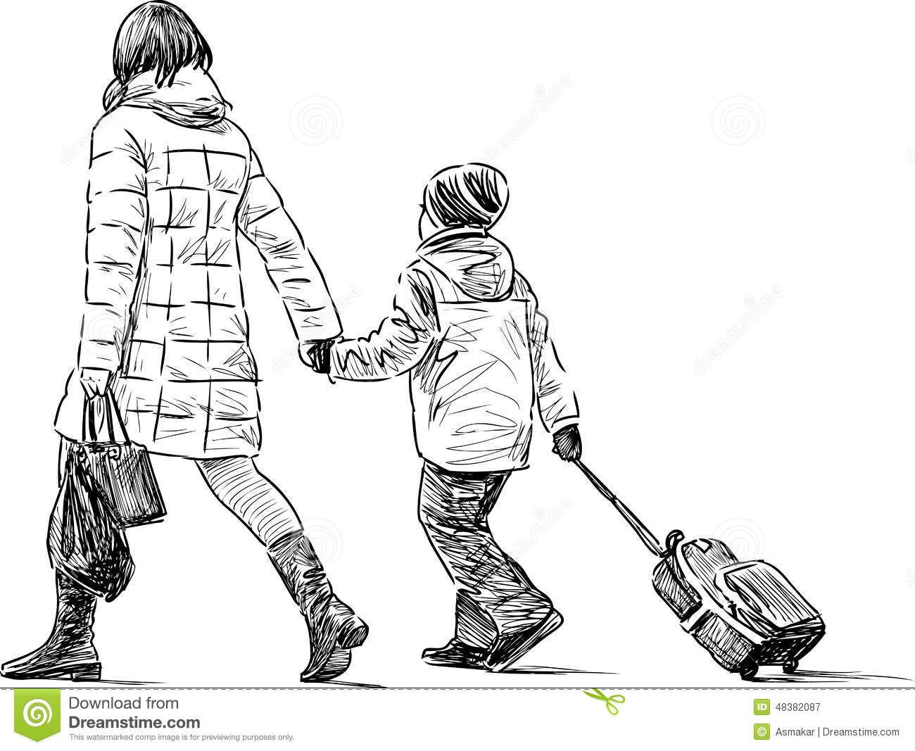 Image Result For Drawing Woman Walking With Child