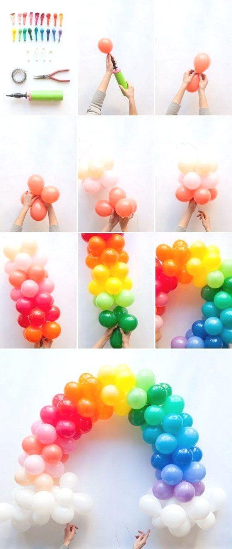 50+ Pretty Balloon Decoration Ideas - For Creative Juice : DIY Mini Rainbow Balloon Arch. #Pretty #Balloon #Decoration #balloonarch