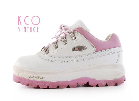 Platform Sneakers 7 90 S Vintage Lugz Pink And White Leather Shoes