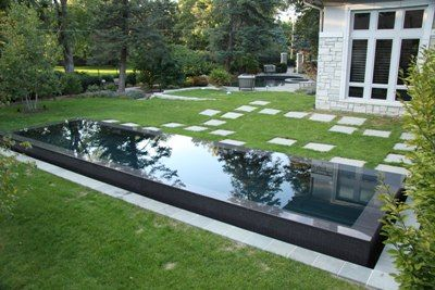 Raised reflecting pool with a vanishing edge on all 4 for Garden reflecting pool