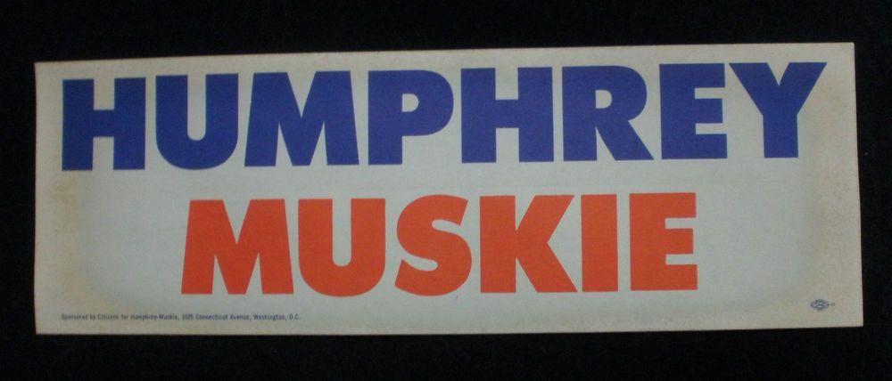 Vintage humphrey muskie bumper sticker
