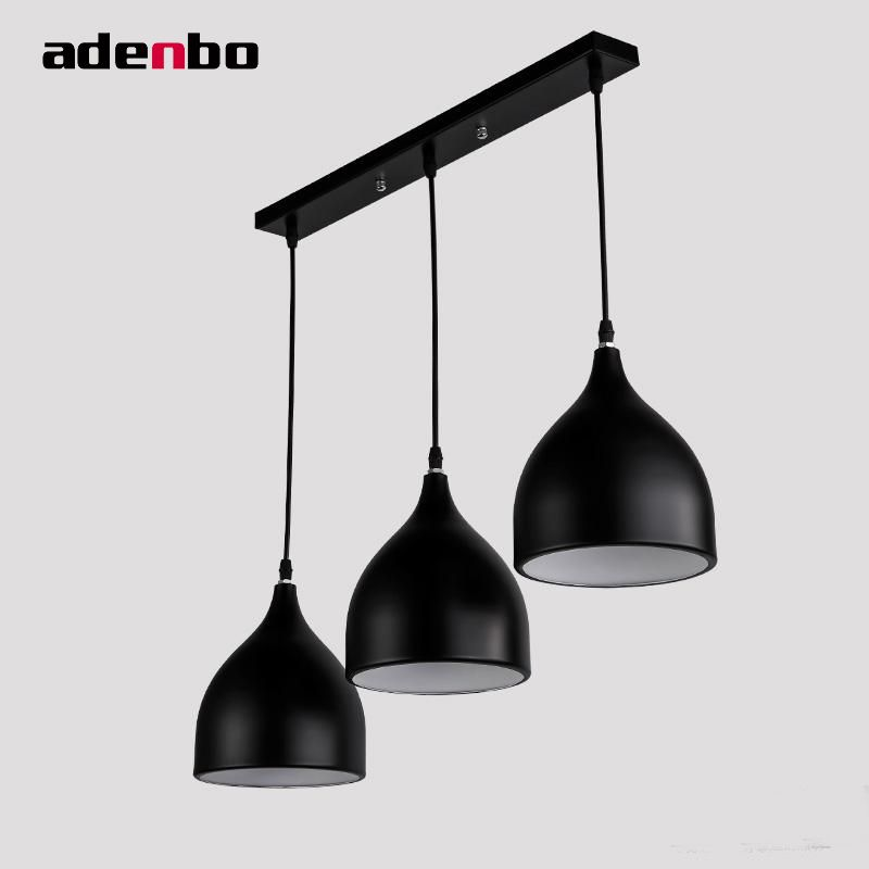Modern Led Pendant Lights Cord Pendant Black And White Metal Shade
