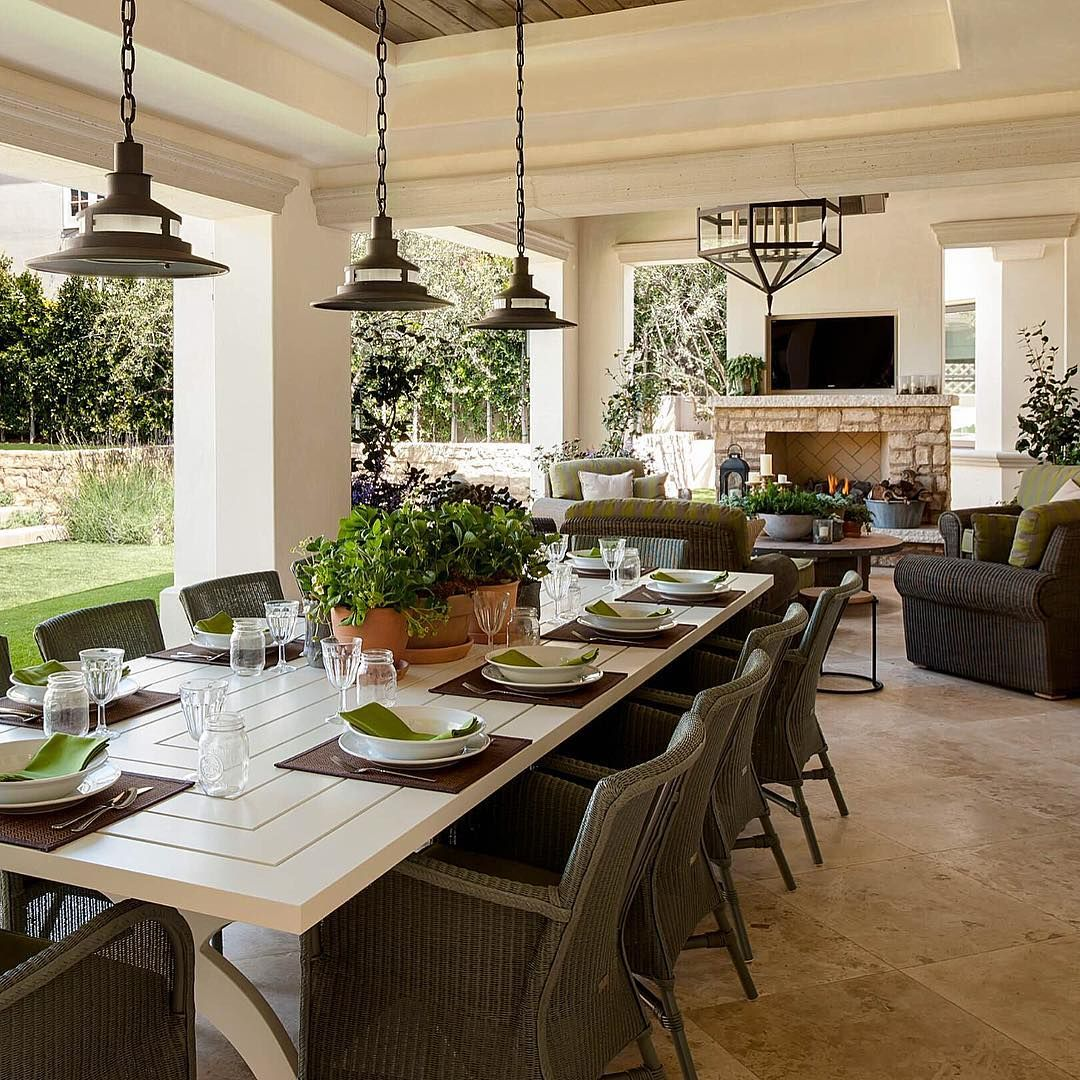 Beautiful outdoor covered porch with large table for ... on Living Spaces Outdoor Dining id=96773