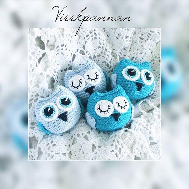 Nästa uppdaterade mönster. Ugglor kan man aldrig få för många av!   Next pattern to be updated on the blog. English pattern is coming soon. You can never have too many owls!  #virka #virkad #virkat #virkning #virkade #virkar #virkaduggla #virkadeugglor #amigurumi #crochet #crocheting #crochetowl #crochetmobile #hekle #heklet #virkkaus #häkeln #haken #haak #hækle #hækling #favoritgarner #scheepjes #scheepjescatona #diwy #diy #diwy_favoritgarner